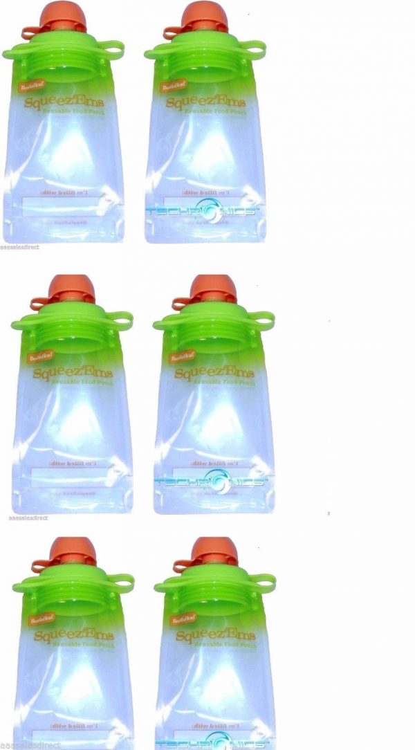 6-Pack-Snack-Pack-Refillable-Baby-Food-Pouch-Reusable-Squeeze-Pouch-BPA-Free-301816246322