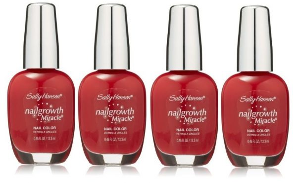 LOT-OF-4-Sally-Hansen-Nail-Growth-Miracle-330-Stunning-Scarlet-301935743616